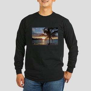 Akumal Sunrise - Palm Tree, Y Long Sleeve Dark T-S