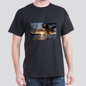 Akumal Sunrise - Palm Tree, Y Dark T-Shirt