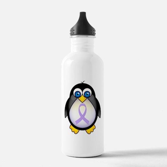 Cute Cancer lavender ribbon Water Bottle