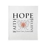 Hope Believe Uterine Cancer Throw Blanket