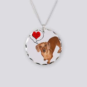 Love You Necklace Circle Charm