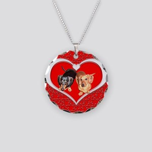 Love Dachshund Dogs Necklace Circle Charm