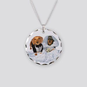 Wedding Dachshunds Dogs Necklace Circle Charm