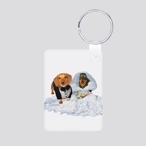 Wedding Dachshunds Dogs Aluminum Photo Keychain