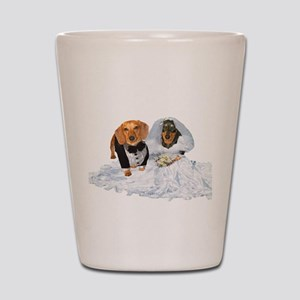 Wedding Dachshunds Dogs Shot Glass