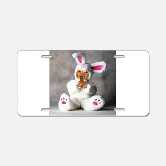 Easter Bunny Red Aluminum License Plate