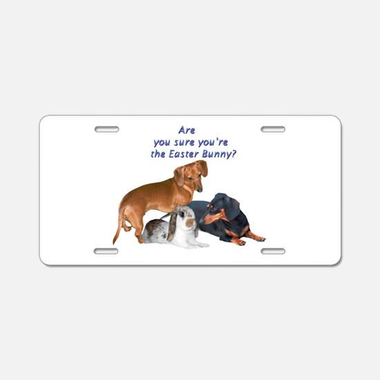 are you the Easter Bunny Dogs Aluminum License Pla