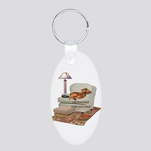 TV Doxie Dad Aluminum Oval Keychain