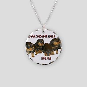 Dachshund Mom Necklace Circle Charm
