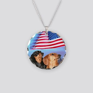 USA Dachshunds Necklace Circle Charm