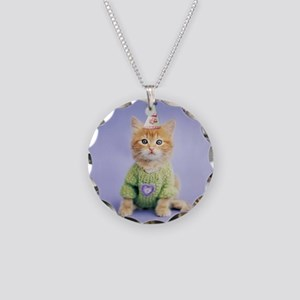 Party Cat Necklace Circle Charm
