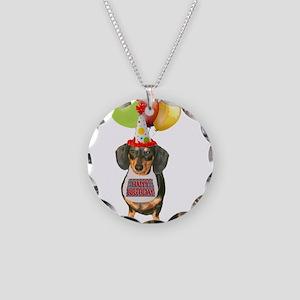 Black Doxie Birthday Necklace Circle Charm