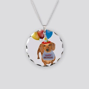 Red Doxie Birthday Necklace Circle Charm