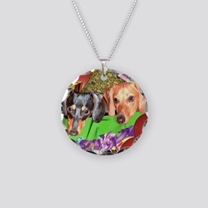 Party Animals Dachshunds Dogs Necklace Circle Char
