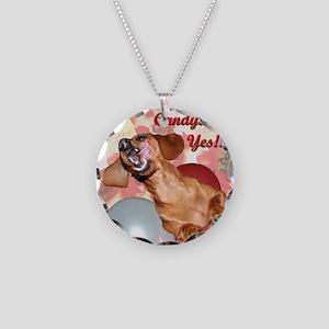 Candy Holiday Dachshund Dog Necklace Circle Charm