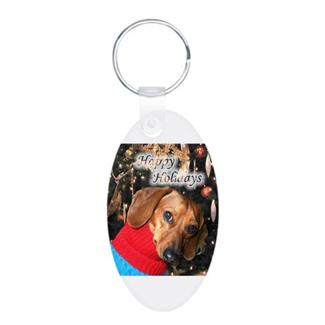 Happy Holidays Doggie Aluminum Oval Keychain
