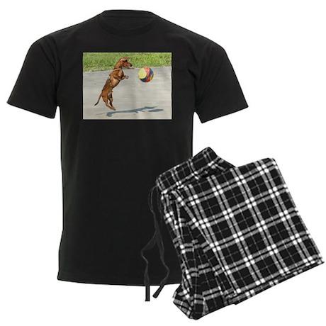 Jumping Doxie Men's Dark Pajamas