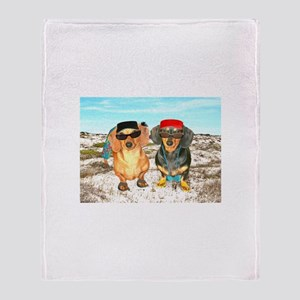 Beach Doxies Throw Blanket