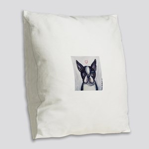 Cute Boston Terrier Heart Burlap Throw Pillow