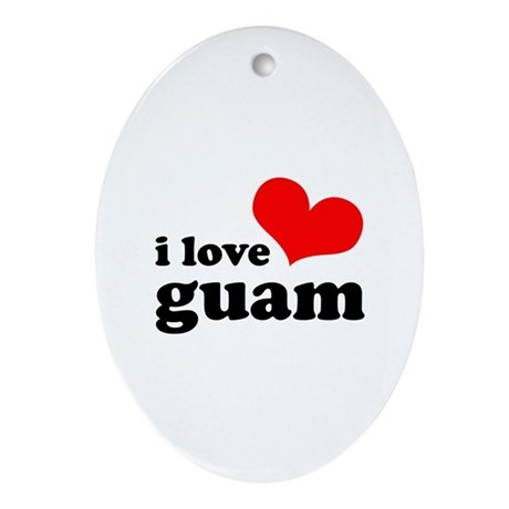 I Love Guam Ornament (Oval)