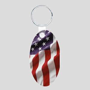 american flag Aluminum Oval Keychain