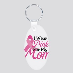 Pink For Mom Aluminum Oval Keychain