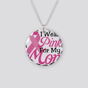 Pink For Mom Necklace Circle Charm