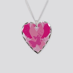 Pink Ribbon Design Necklace Heart Charm