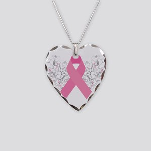 Pink Ribbon Design 3 Necklace Heart Charm