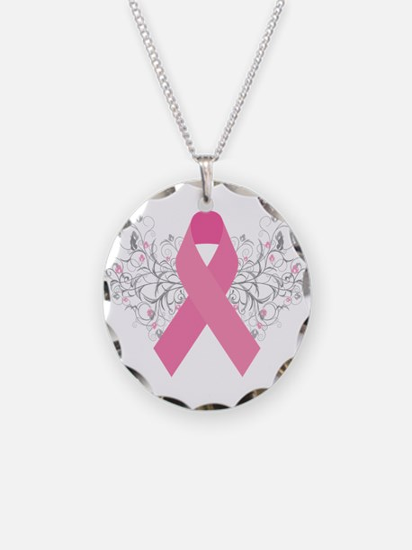 Pink Ribbon Design 3 Necklace Circle Charm