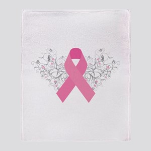 Pink Ribbon Design 3 Throw Blanket
