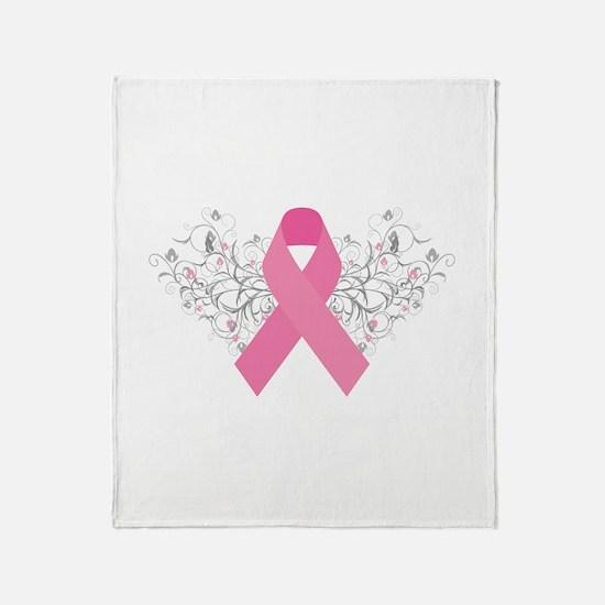 Pink Ribbon Design 3 Throw Blanket