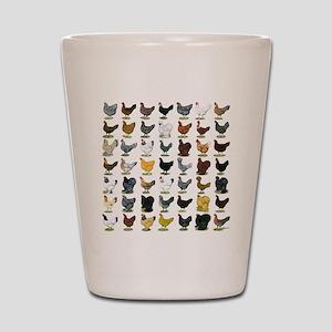 49 Hen Breeds Shot Glass