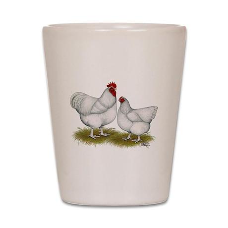 Orpington White Chickens Shot Glass