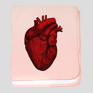 Vintage Anatomical Human Heart baby blanket