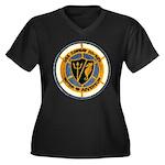 USS CONWAY Women's Plus Size V-Neck Dark T-Shirt