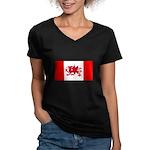 Welsh Canadian Women's V-Neck Dark T-Shirt