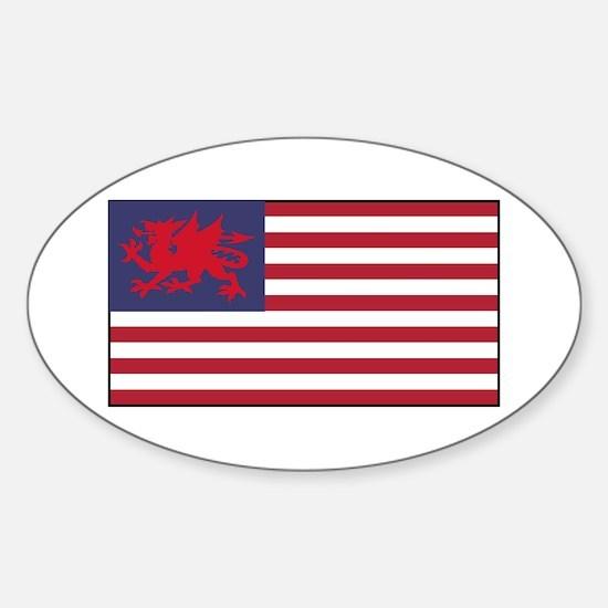 Welsh American Sticker (Oval)