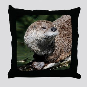 Northern River Otter Throw Pillow
