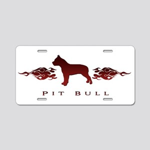 Pit Bull Flames Aluminum License Plate
