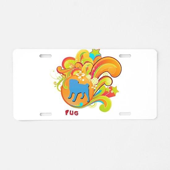 Groovy Pug Aluminum License Plate