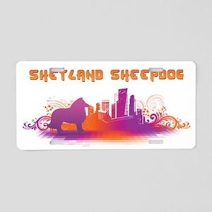 """City"" Shetland Sheepdog Aluminum License Plate"