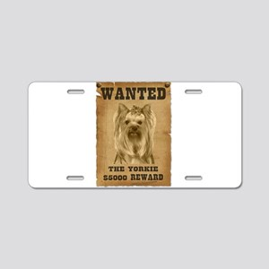 """Wanted"" Yorkie Aluminum License Plate"