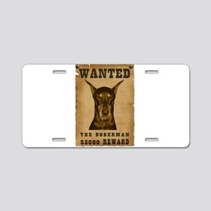 """Wanted"" Doberman Aluminum License Plate"
