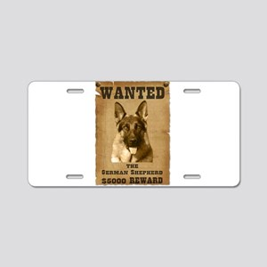 """Wanted"" German Shepherd Aluminum License Plate"