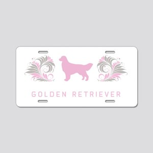 """Elegant"" Golden Retriever Aluminum License Plate"