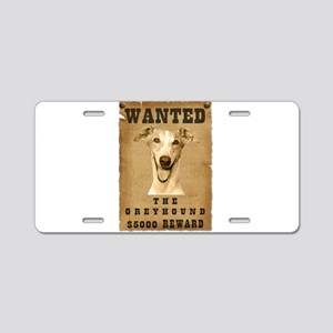 """""""Wanted"""" Greyhound Aluminum License Plate"""