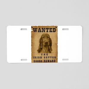 """Wanted"" Irish Setter Aluminum License Plate"