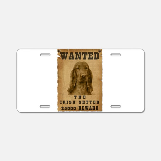 """Wanted"" Irish Setter Aluminum License Plate"