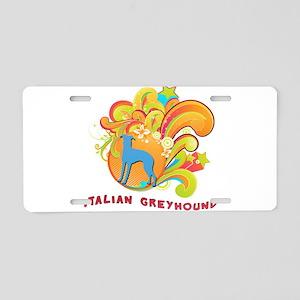 Groovy Italian Greyhound Aluminum License Plate